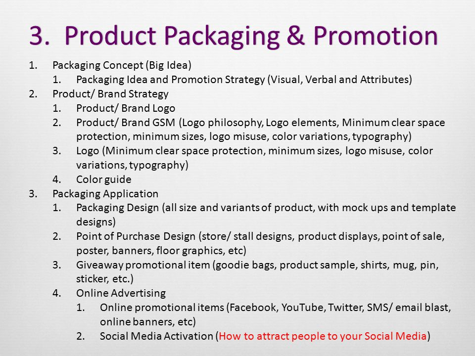 3. Product Packaging & Promotion3.