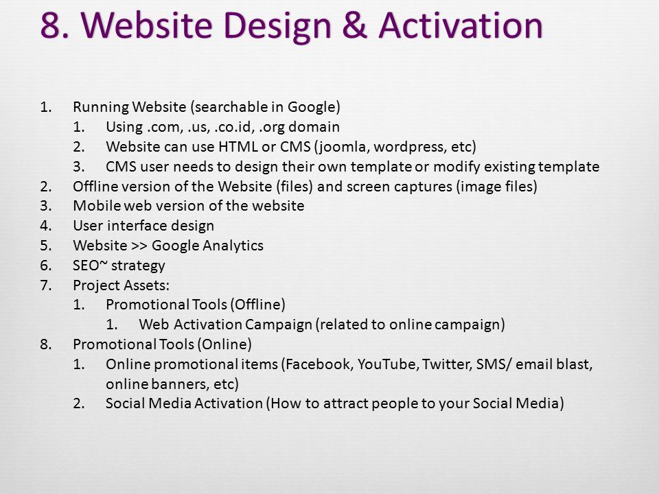 8. Website Design & Activation8.