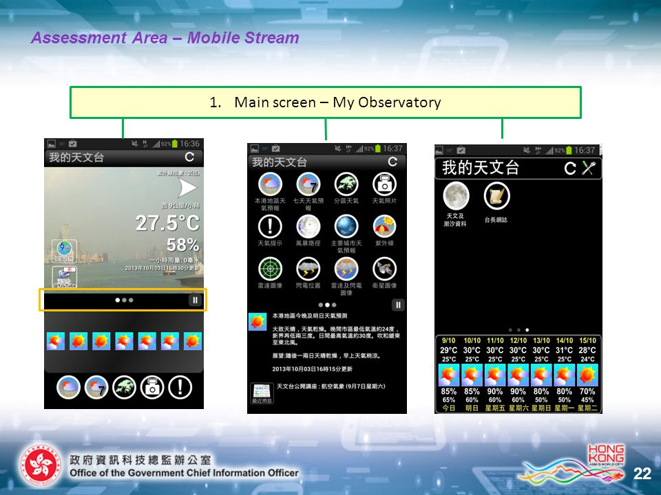 22 Assessment Area – Mobile Stream 1.Main screen – My Observatory