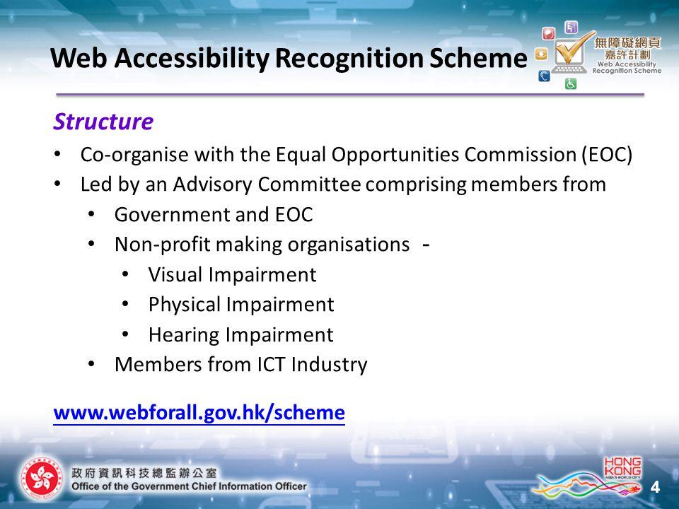 15 Awards Web Accessibility Recognition Scheme 2015 New Criteria of Silver Award StreamAwardNo.