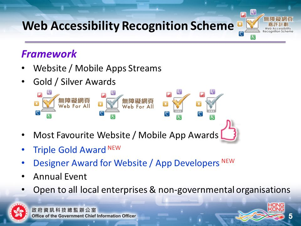 5 Framework Website / Mobile Apps Streams Gold / Silver Awards Most Favourite Website / Mobile App Awards Triple Gold Award NEW Designer Award for Website / App Developers NEW Annual Event Open to all local enterprises & non-governmental organisations Web Accessibility Recognition Scheme