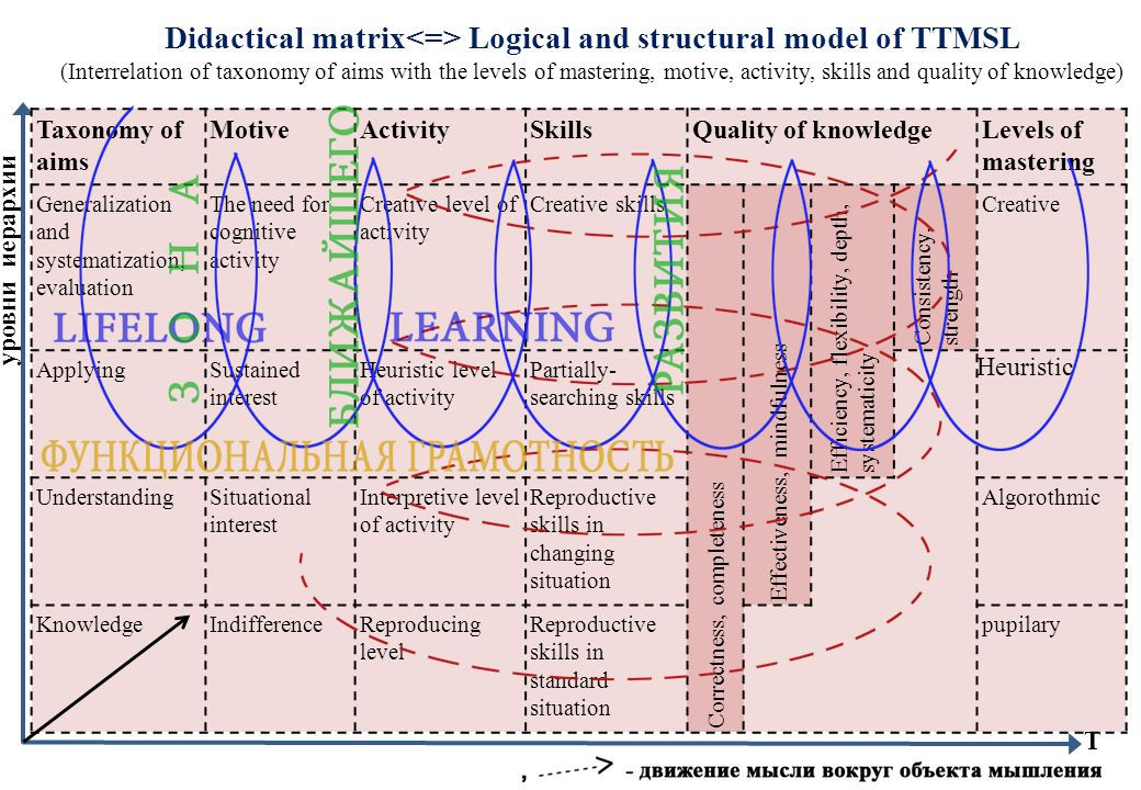 Didactical matrix Logical and structural model of TTMSL (Interrelation of taxonomy of aims with the levels of mastering, motive, activity, skills and