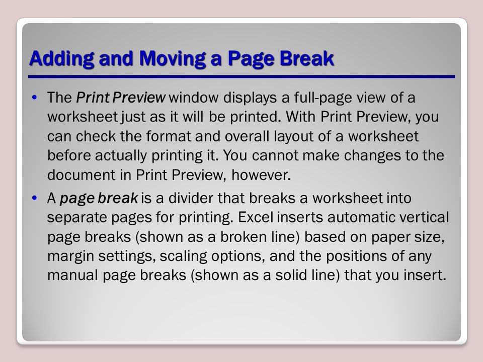 The Print Preview window displays a full-page view of a worksheet just as it will be printed.