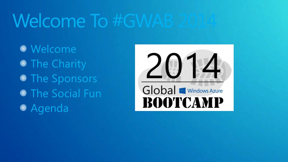 Welcome To #GWAB 2014 Welcome The Charity The Sponsors The Social Fun Agenda