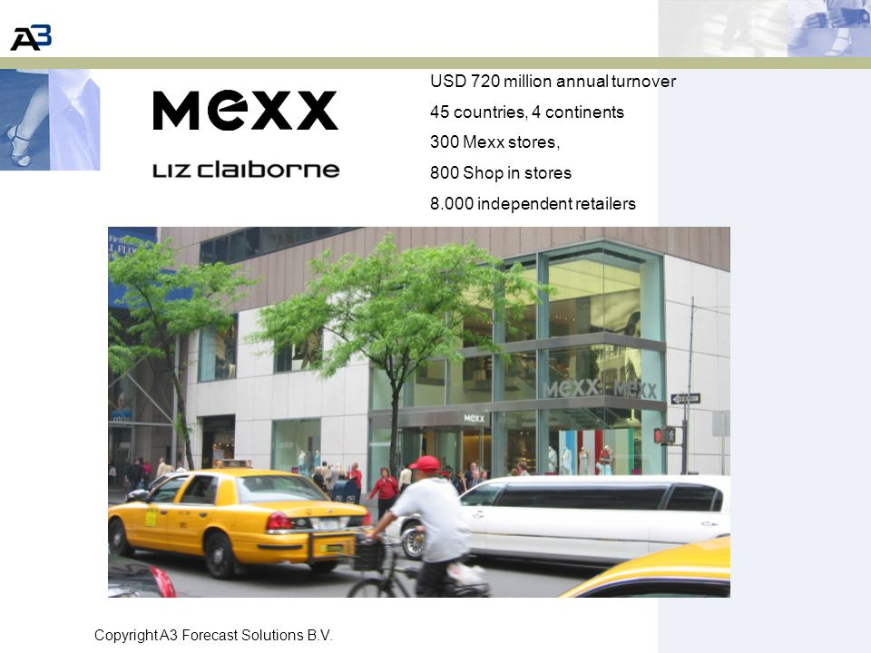 Copyright A3 Forecast Solutions B.V. USD 720 million annual turnover 45 countries, 4 continents 300 Mexx stores, 800 Shop in stores 8.000 independent