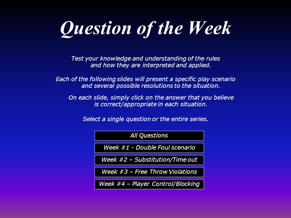 Test your knowledge and understanding of the rules and how they are interpreted and applied.