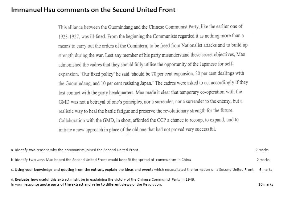 Immanuel Hsu comments on the Second United Front a.