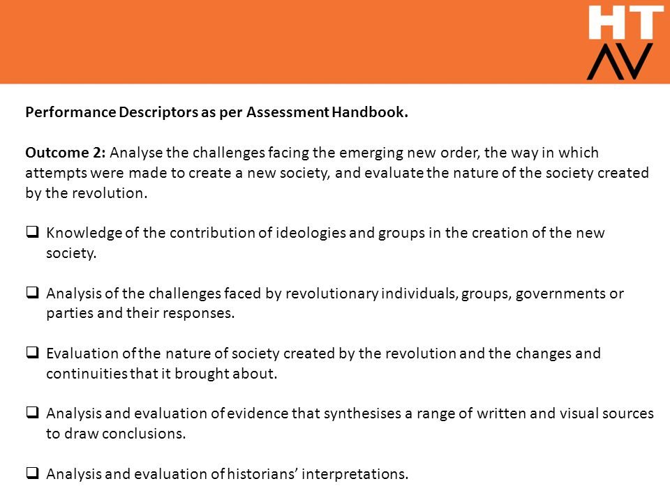 Performance Descriptors as per Assessment Handbook.