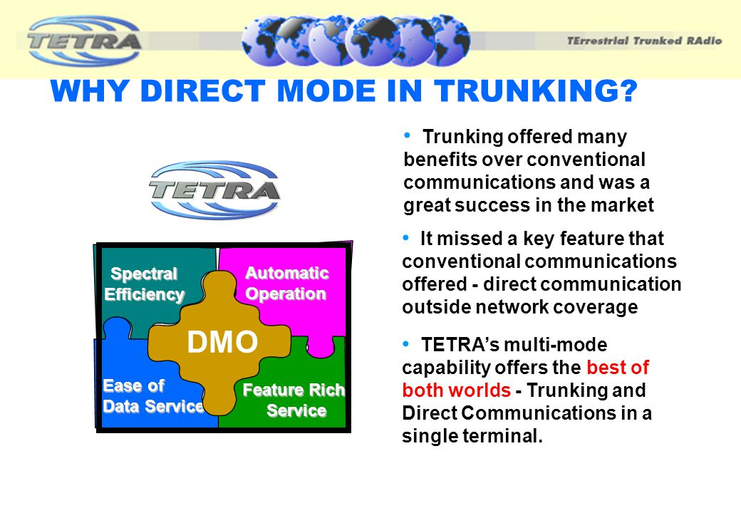 AGENDA Introduction & explanation of Direct Mode Operation (DMO) Services & Facilities Benefits & Applications Conclusions