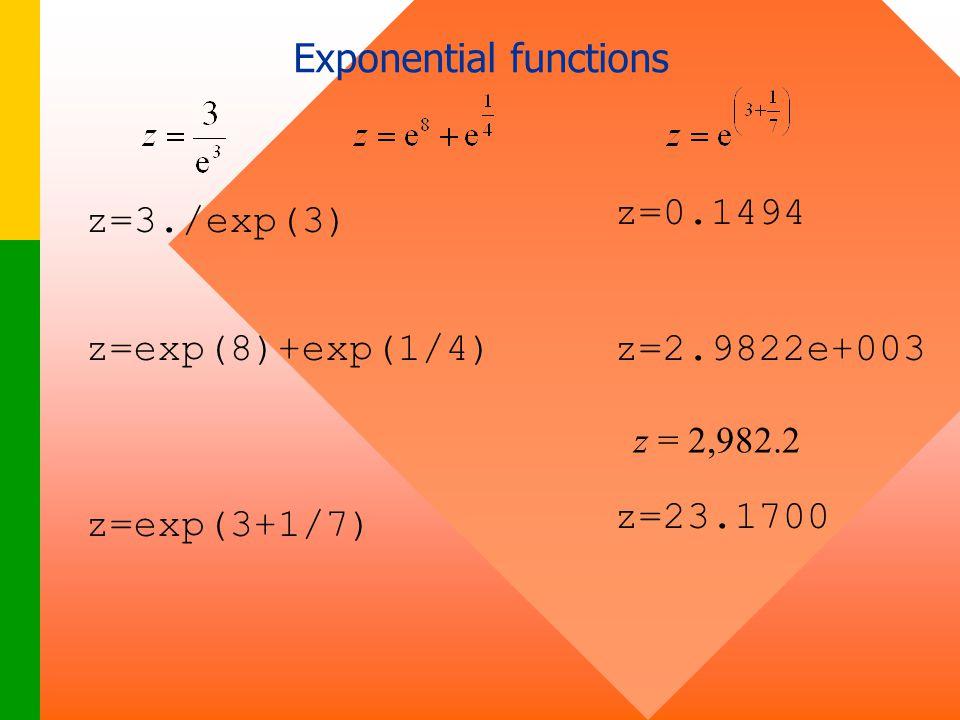z=exp(8)+exp(1/4) z=exp(3+1/7) z=0.1494 z=3./exp(3) z=2.9822e+003 z=23.1700 z = 2,982.2 Exponential functions