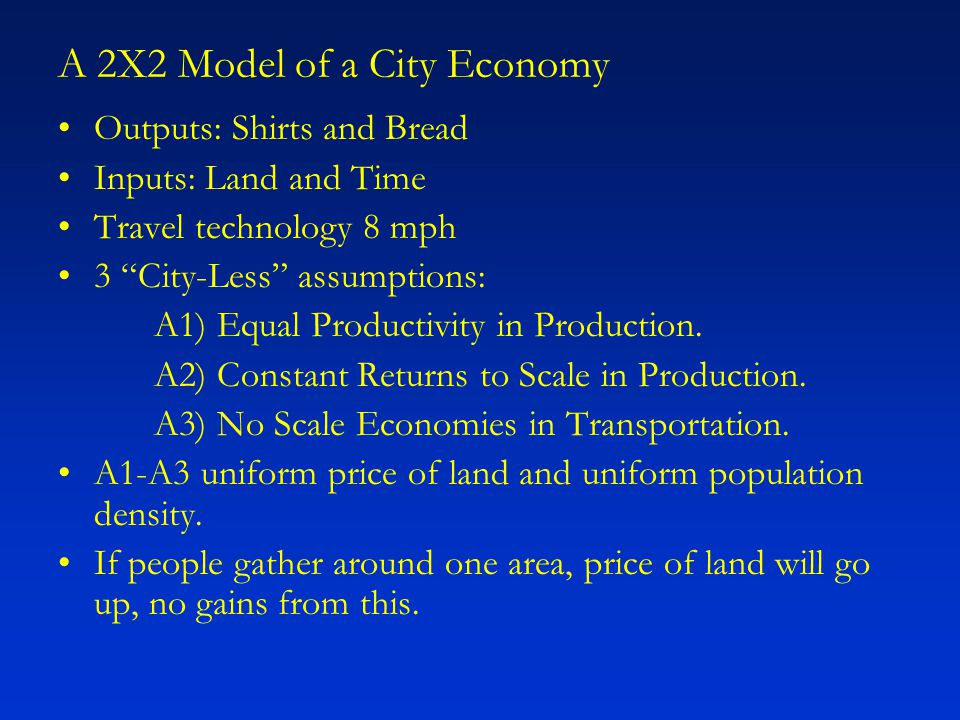 "A 2X2 Model of a City Economy Outputs: Shirts and Bread Inputs: Land and Time Travel technology 8 mph 3 ""City-Less"" assumptions: A1) Equal Productivit"