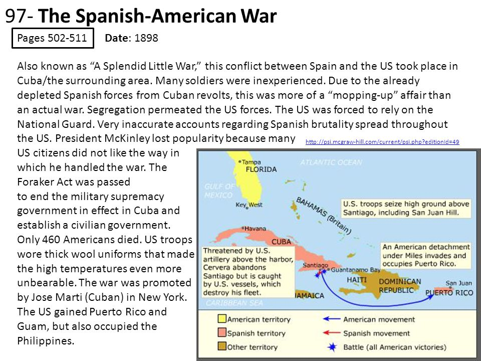 97- The Spanish-American War Pages 502-511 Date: 1898 http://psi.mcgraw-hill.com/current/psi.php?editionId=49 Also known as A Splendid Little War, this conflict between Spain and the US took place in Cuba/the surrounding area.