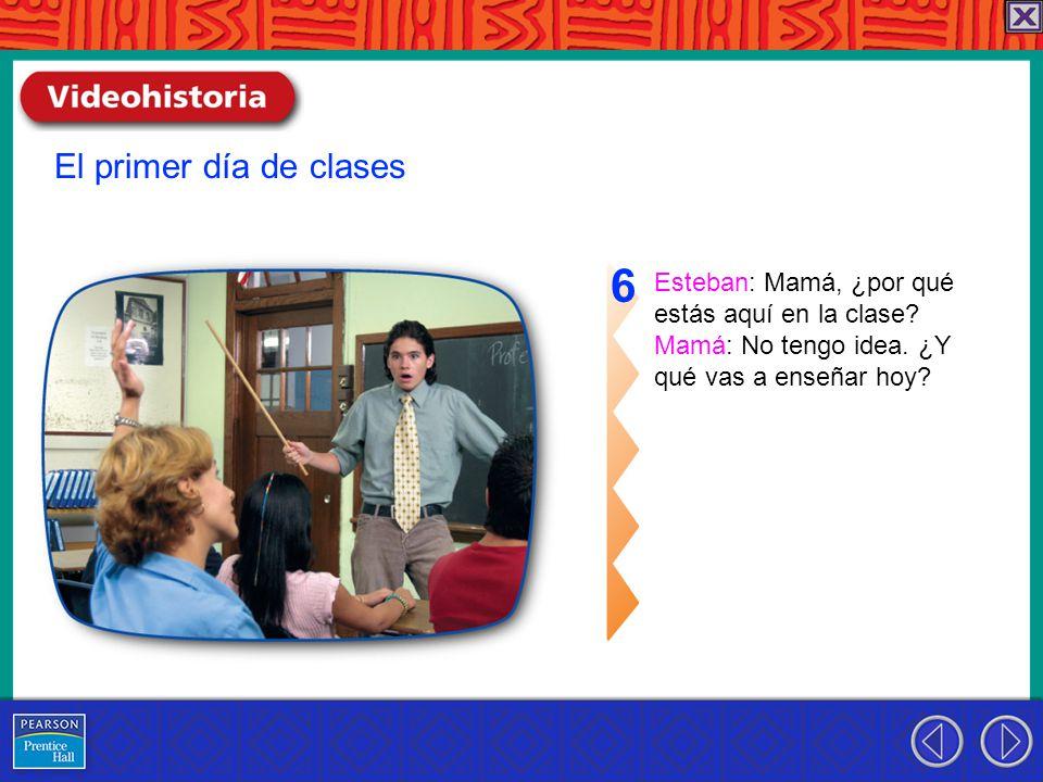 Esteban: Mamá, ¿por qué estás aquí en la clase. Mamá: No tengo idea.