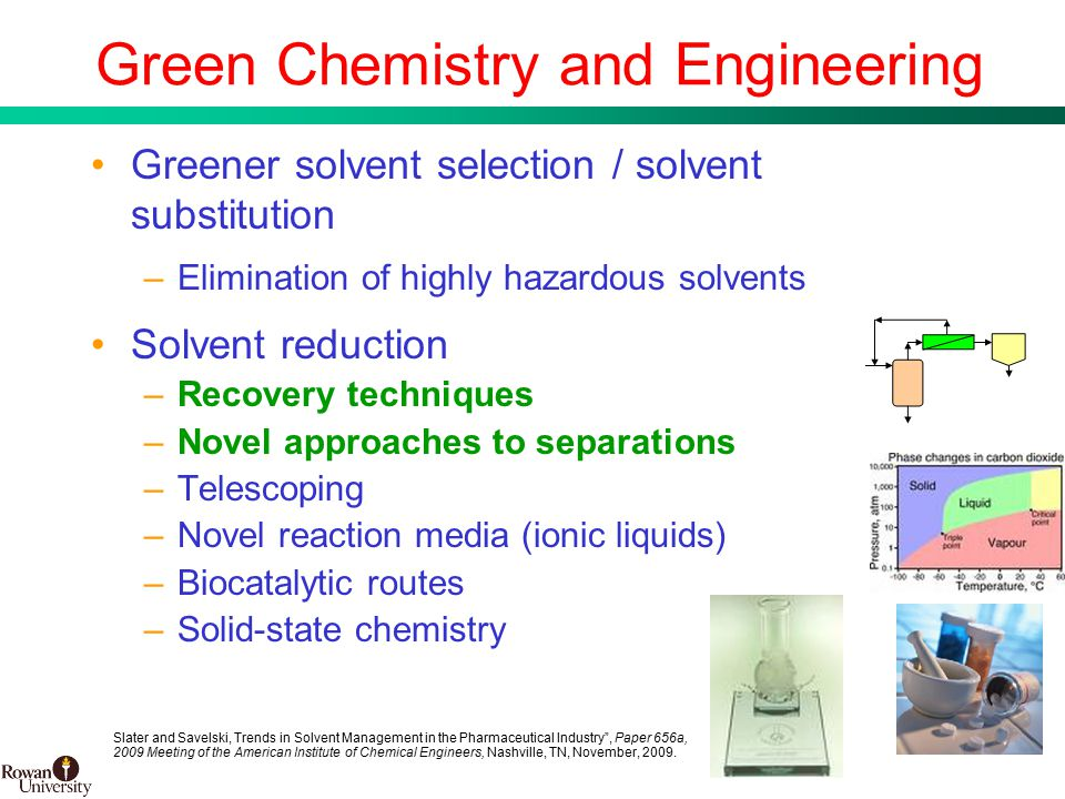11 BMS Confidential PUBD 13745 Green Chemistry and Engineering Greener solvent selection / solvent substitution –Elimination of highly hazardous solvents Solvent reduction –Recovery techniques –Novel approaches to separations –Telescoping –Novel reaction media (ionic liquids) –Biocatalytic routes –Solid-state chemistry Slater and Savelski, Trends in Solvent Management in the Pharmaceutical Industry , Paper 656a, 2009 Meeting of the American Institute of Chemical Engineers, Nashville, TN, November, 2009.