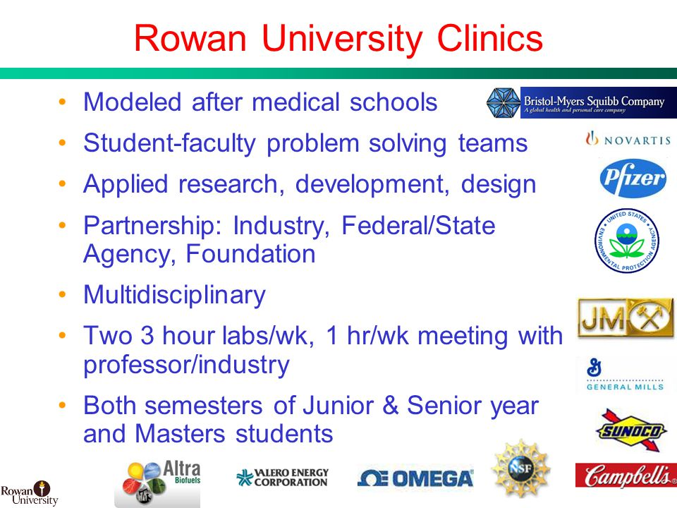 12 BMS Confidential PUBD 13745 Rowan University Clinics Modeled after medical schools Student-faculty problem solving teams Applied research, development, design Partnership: Industry, Federal/State Agency, Foundation Multidisciplinary Two 3 hour labs/wk, 1 hr/wk meeting with professor/industry Both semesters of Junior & Senior year and Masters students