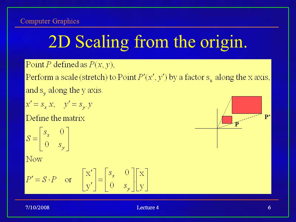Computer Graphics 7/10/2008Lecture 46 2D Scaling from the origin. P P'