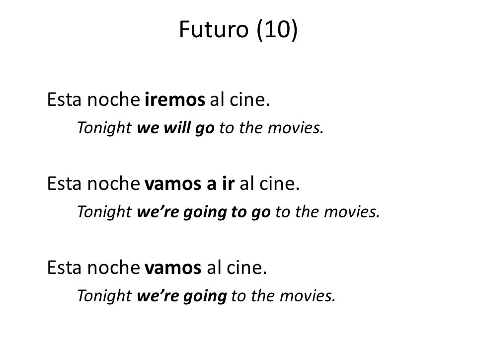 Futuro (10) Esta noche iremos al cine. Tonight we will go to the movies.