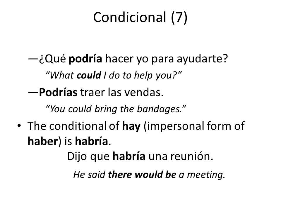 Condicional (7) —¿Qué podría hacer yo para ayudarte.