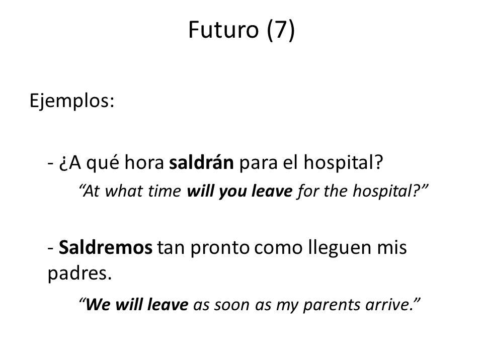 Futuro (7) Ejemplos: - ¿A qué hora saldrán para el hospital.