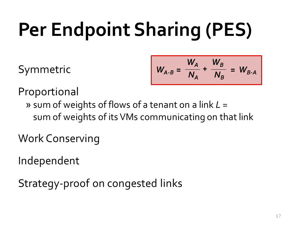 Per Endpoint Sharing (PES) Symmetric Proportional »sum of weights of flows of a tenant on a link L = sum of weights of its VMs communicating on that link Work Conserving Independent Strategy-proof on congested links 17 WAWA W A-B = NANA NBNB WBWB + = W B-A