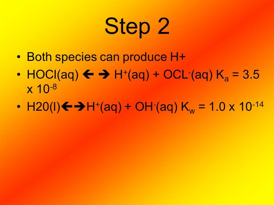 Step 2 Both species can produce H+ HOCl(aq)   H + (aq) + OCL - (aq) K a = 3.5 x 10 -8 H20(l)  H + (aq) + OH - (aq) K w = 1.0 x 10 -14