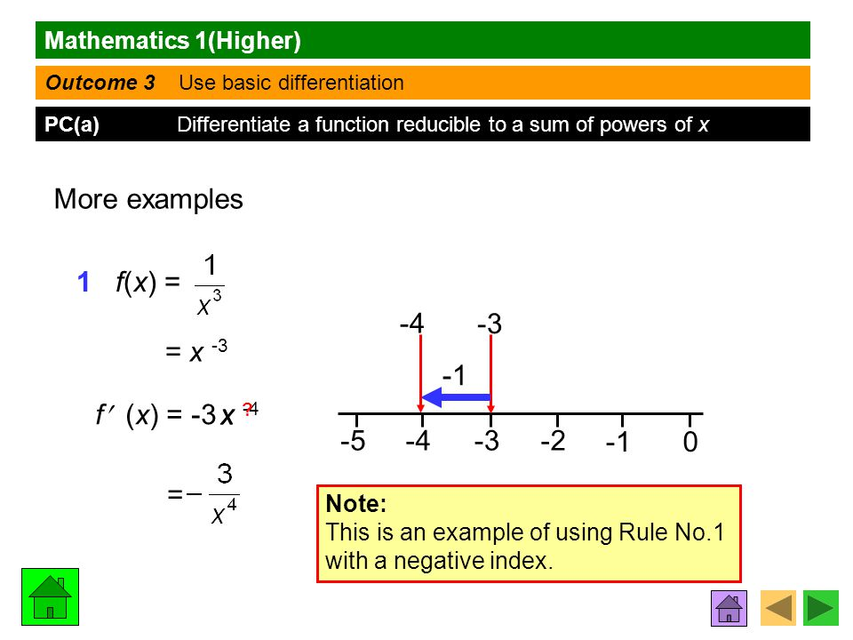 Mathematics 1(Higher) Outcome 3 Use basic differentiation PC(a) Differentiate a function reducible to a sum of powers of x More examples 1 f(x) = = x -3 f (x) = -3 -4-3-2 0 -5 -3 -4 Note: This is an example of using Rule No.1 with a negative index.