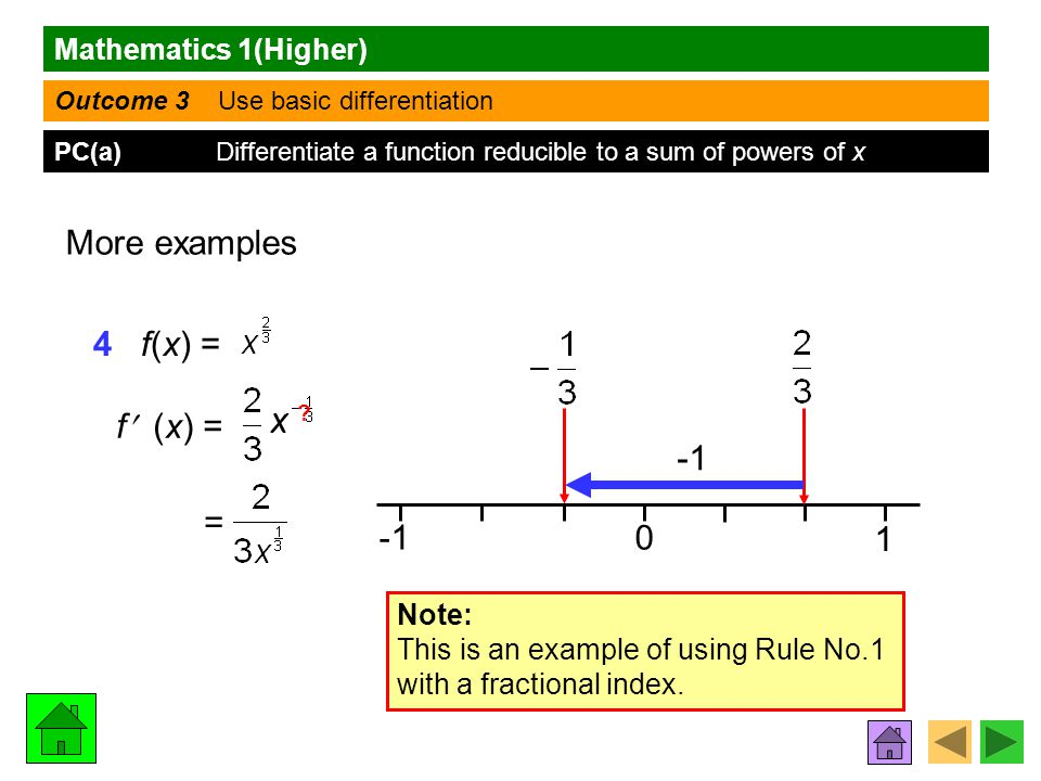 Mathematics 1(Higher) Outcome 3 Use basic differentiation PC(a) Differentiate a function reducible to a sum of powers of x More examples 4 f(x) = f (x) = 0 1 Note: This is an example of using Rule No.1 with a fractional index.