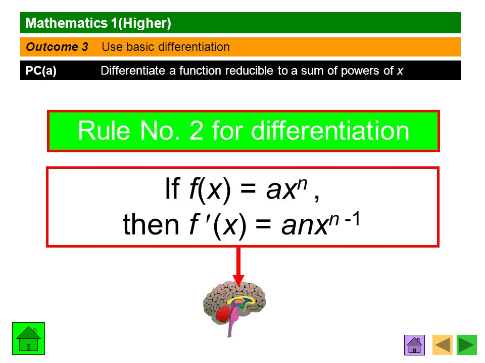 Mathematics 1(Higher) Outcome 3 Use basic differentiation PC(a) Differentiate a function reducible to a sum of powers of x Rule No.
