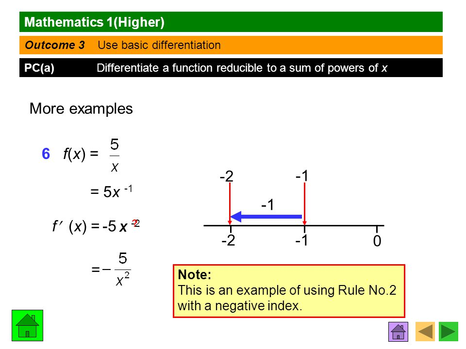 Mathematics 1(Higher) Outcome 3 Use basic differentiation PC(a) Differentiate a function reducible to a sum of powers of x More examples 6 f(x) = = 5x -1 f (x) = -2 0 -2 Note: This is an example of using Rule No.2 with a negative index.