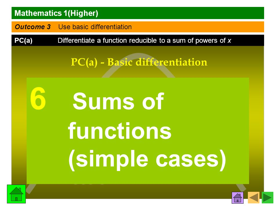 Mathematics 1(Higher) Outcome 3 Use basic differentiation PC(a) Differentiate a function reducible to a sum of powers of x f (x) f (x)f (x) f (x) dy dx PC(a) - Basic differentiation 6 Sums of functions (simple cases)