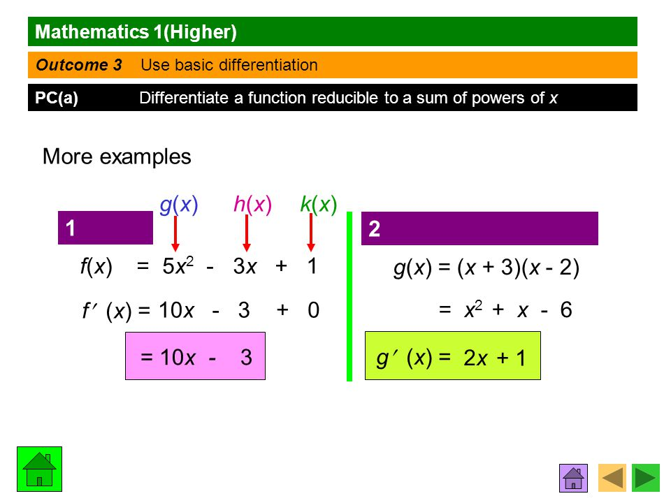 Mathematics 1(Higher) Outcome 3 Use basic differentiation PC(a) Differentiate a function reducible to a sum of powers of x More examples f(x) = 5x 2 - 3x + 1 f (x) = g(x)g(x)h(x)h(x)k(x)k(x) - 3+ 010x = 10x - 3 g(x) = (x + 3)(x - 2) = x 2 + x - 6 g (x) = 2x2x + 1 1 2
