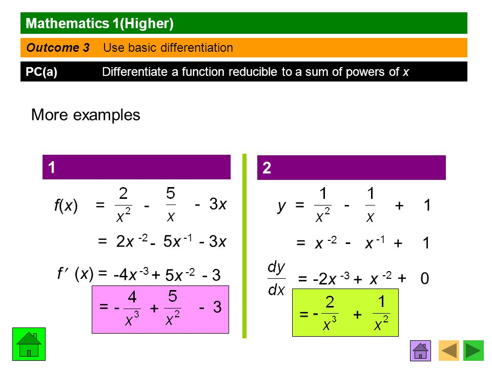 Mathematics 1(Higher) Outcome 3 Use basic differentiation PC(a) Differentiate a function reducible to a sum of powers of x More examples f(x) = f (x) = = - - 3x = 2x -2 - 5x -1 - 3x -4x -3 + 5x -2 - 3 - + y = + - 1 = x -2 - x -1 + 1 = -2x -3 + x -2 + 0 = - + 1 2