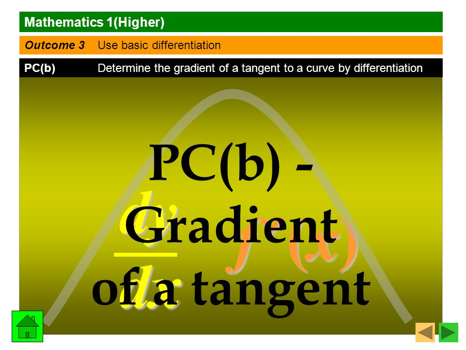 Mathematics 1(Higher) Outcome 3 Use basic differentiation PC(b) Determine the gradient of a tangent to a curve by differentiation dy dx f (x) f (x)f (x) f (x) PC(b) - Gradient of a tangent