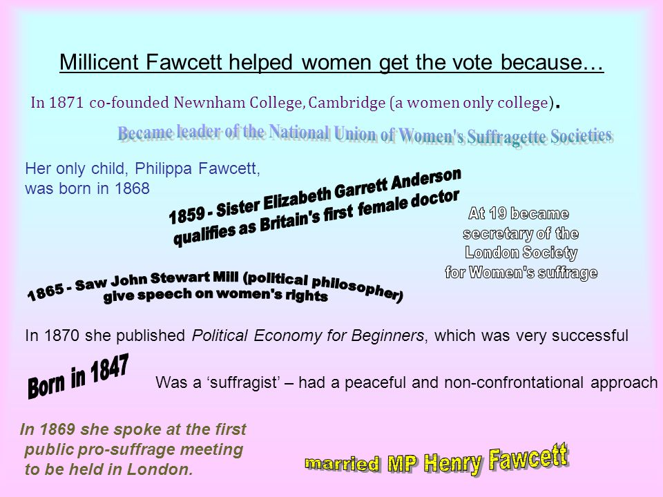 What do we think are the least and most important facts to know about Fawcett and how she helped women get the vote?