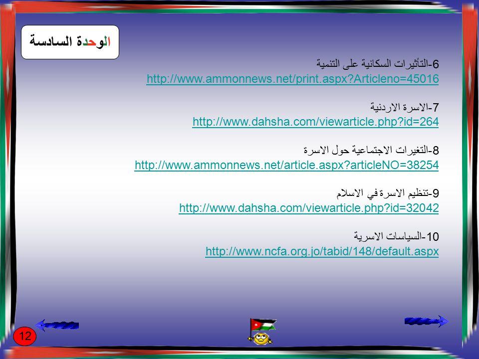 الوحدة السادسة 6-التأثيرات السكانية على التنمية http://www.ammonnews.net/print.aspx?Articleno=45016 7-الاسرة الاردنية http://www.dahsha.com/viewarticle.php?id=264 8-التغيرات الاجتماعية حول الاسرة http://www.ammonnews.net/article.aspx?articleNO=38254 9-تنظيم الاسرة في الاسلام http://www.dahsha.com/viewarticle.php?id=32042 10-السياسات الاسرية http://www.ncfa.org.jo/tabid/148/default.aspx 12