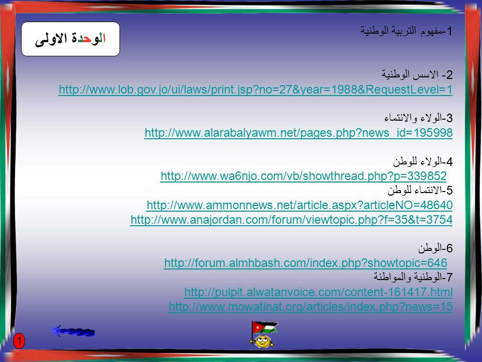 1-مفهوم التربية الوطنية 2- الاسس الوطنية http://www.lob.gov.jo/ui/laws/print.jsp?no=27&year=1988&RequestLevel=1 3-الولاء والانتماء http://www.alarabalyawm.net/pages.php?news_id=195998 4-الولاء للوطن http://www.wa6njo.com/vb/showthread.php?p=339852 5-الانتماء للوطن http://www.ammonnews.net/article.aspx?articleNO=48640 http://www.anajordan.com/forum/viewtopic.php?f=35&t=3754 6-الوطن http://forum.almhbash.com/index.php?showtopic=646 7-الوطنية والمواطنة http://pulpit.alwatanvoice.com/content-161417.html http://www.mowatinat.org/articles/index.php?news=15 الوحدة الاولى 1