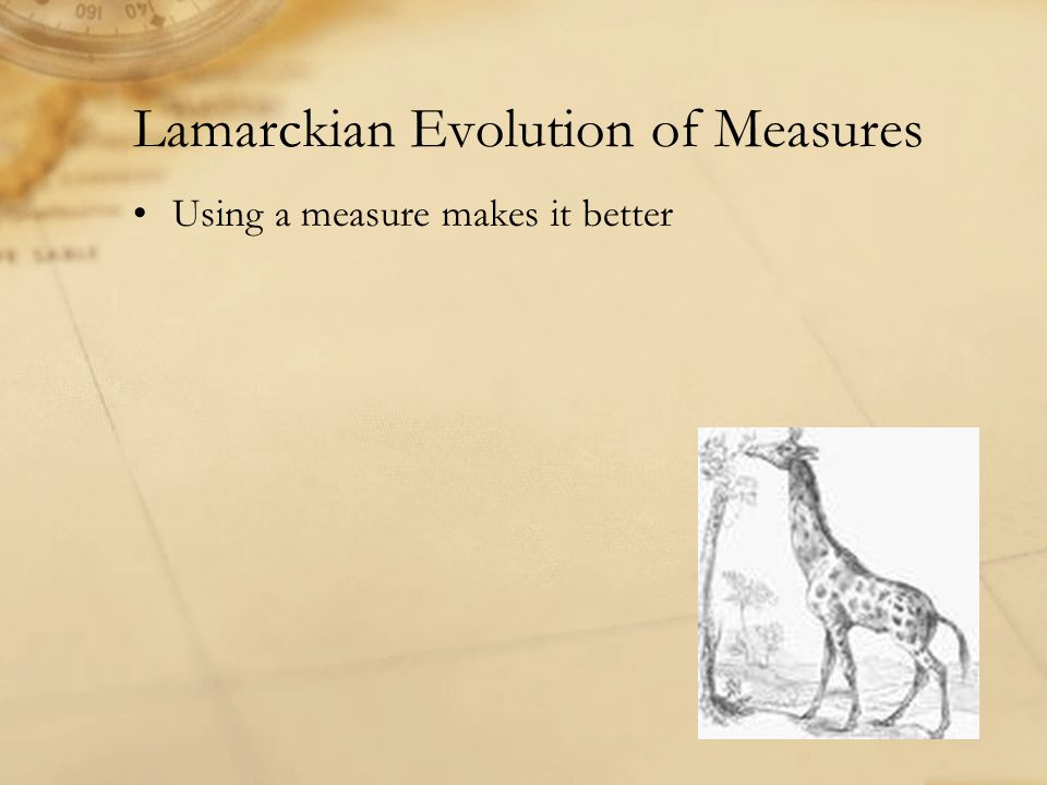 Lamarckian Evolution of Measures Using a measure makes it better