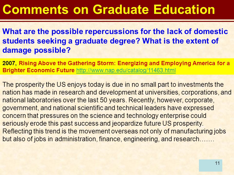 11 Comments on Graduate Education What are the possible repercussions for the lack of domestic students seeking a graduate degree.