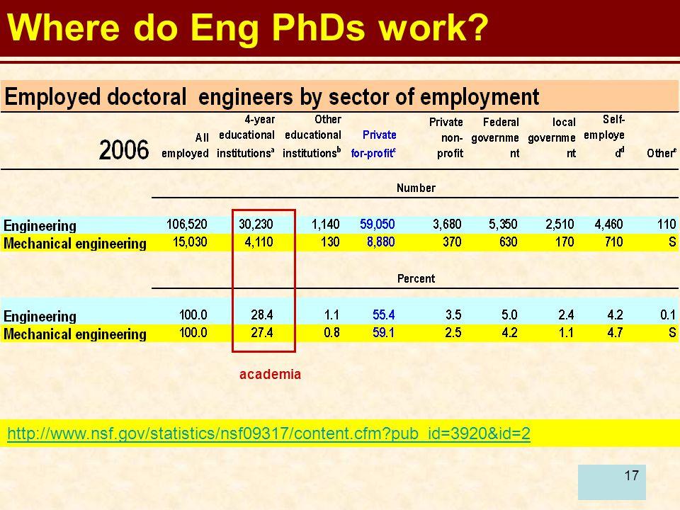 17 Where do Eng PhDs work.