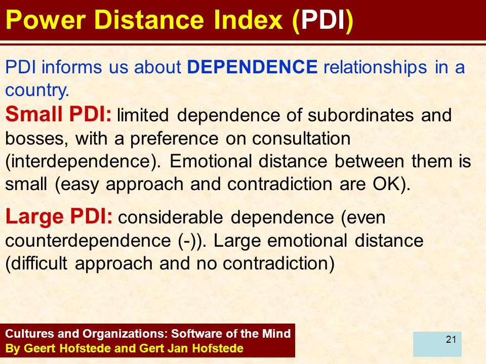 21 Power Distance Index (PDI) Cultures and Organizations: Software of the Mind By Geert Hofstede and Gert Jan Hofstede PDI informs us about DEPENDENCE relationships in a country.