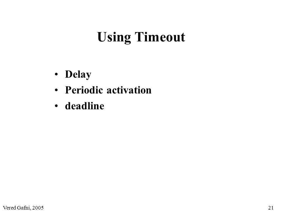 Vered Gafni, 200521 Using Timeout Delay Periodic activation deadline
