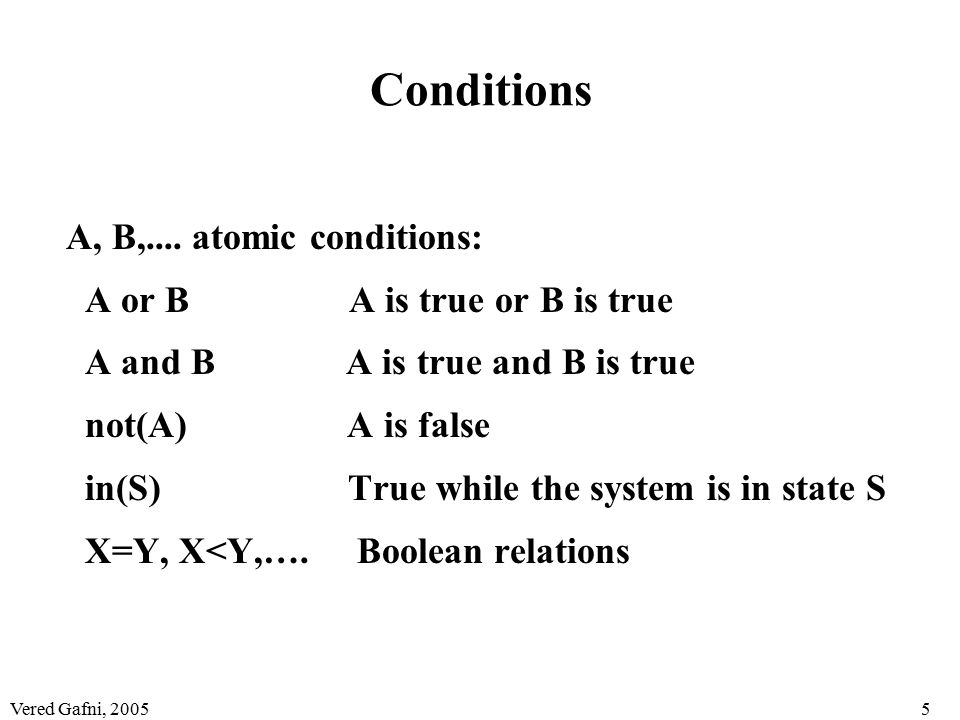 Vered Gafni, 20055 Conditions A, B,.... atomic conditions: A or B A is true or B is true A and B A is true and B is true not(A) A is false in(S) True