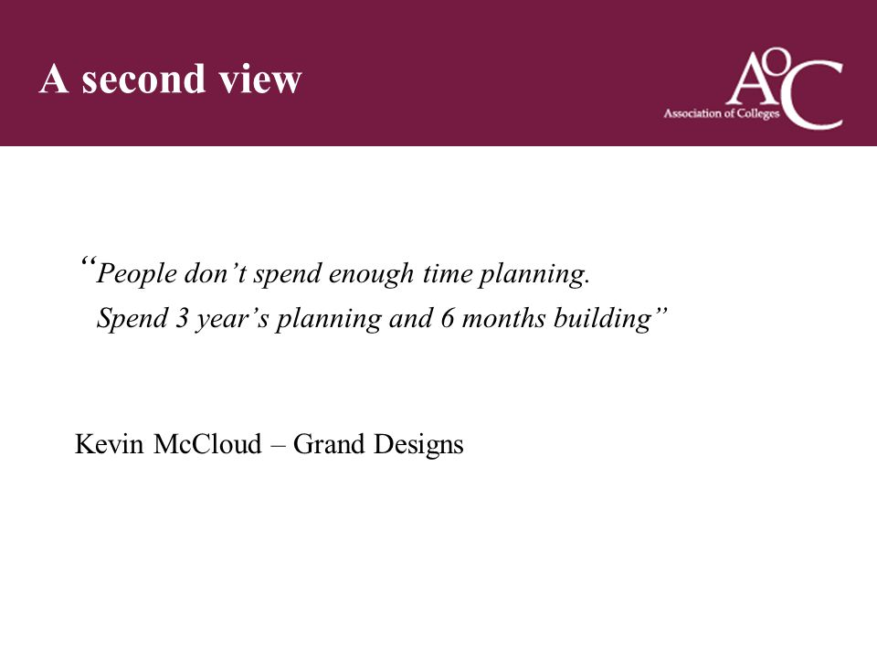 Title of the slide Second line of the slide A second view People don't spend enough time planning.