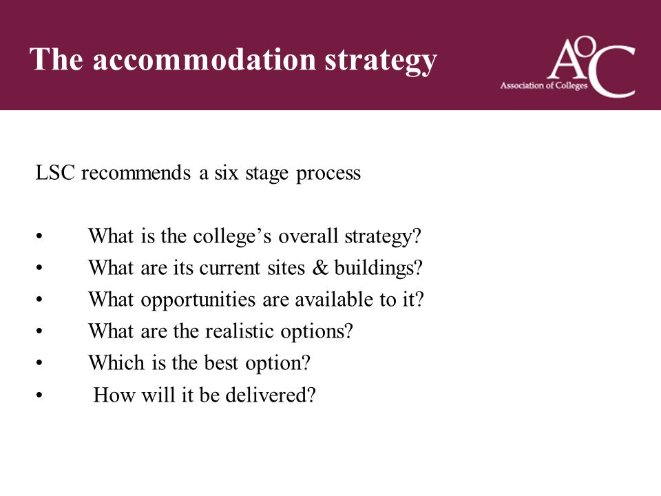 Title of the slide Second line of the slide The accommodation strategy LSC recommends a six stage process What is the college's overall strategy.