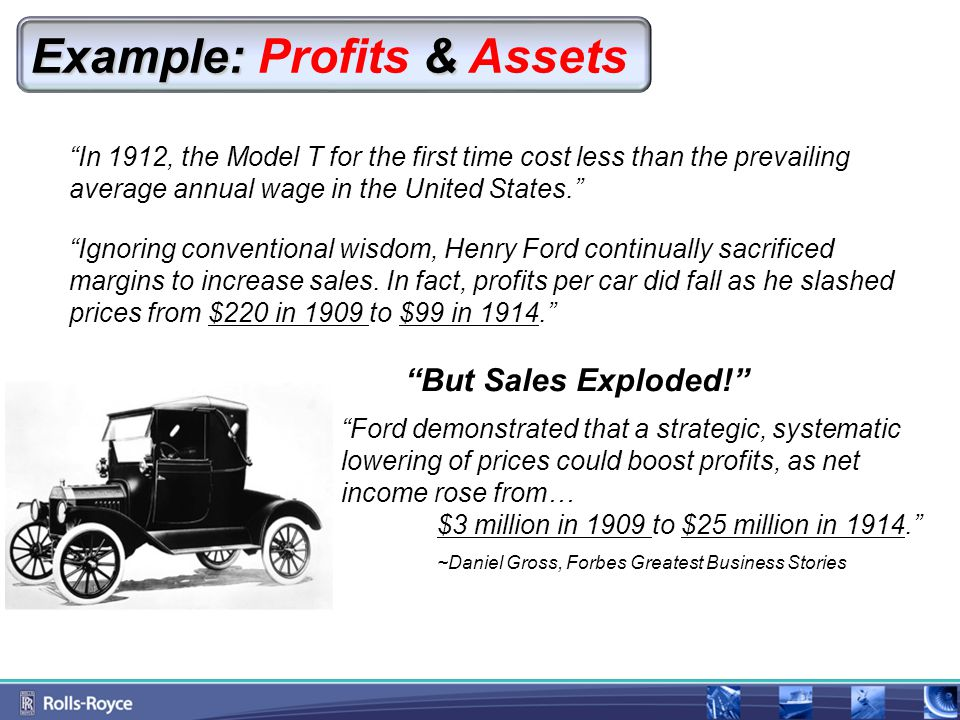Example: & Example: Profits & Assets In 1912, the Model T for the first time cost less than the prevailing average annual wage in the United States. Ignoring conventional wisdom, Henry Ford continually sacrificed margins to increase sales.