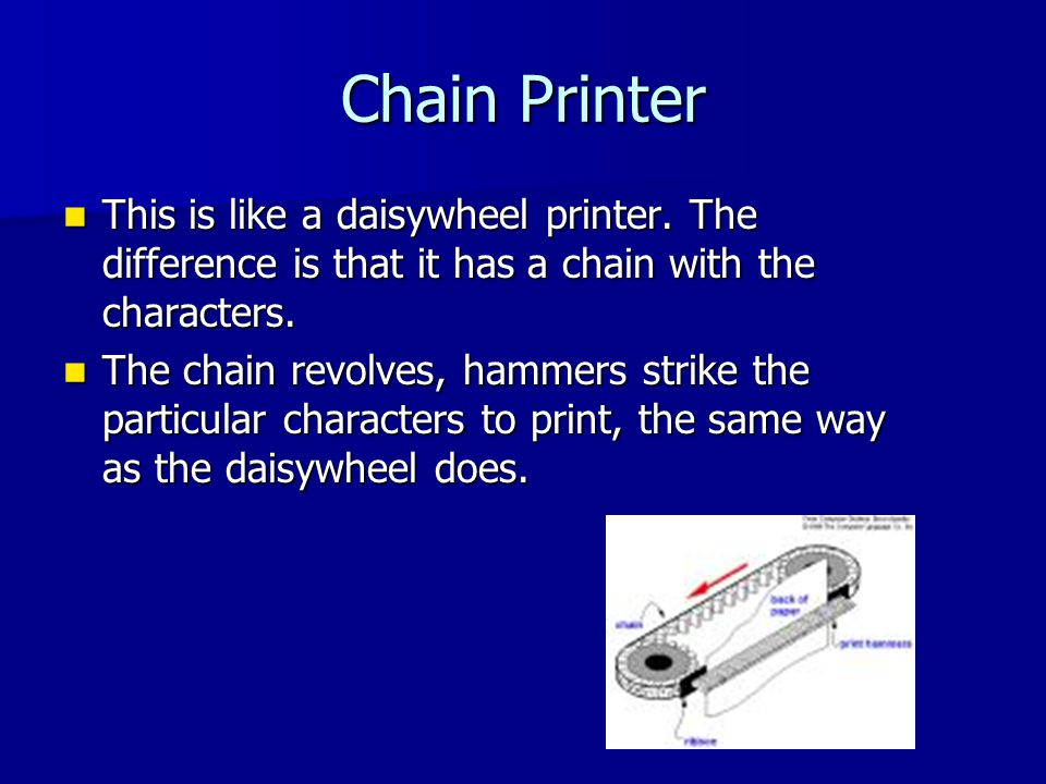 Chain Printer This is like a daisywheel printer.