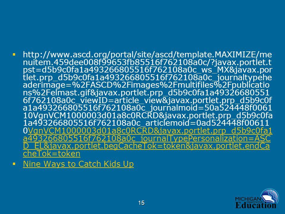 15  http://www.ascd.org/portal/site/ascd/template.MAXIMIZE/me nuitem.459dee008f99653fb85516f762108a0c/ javax.portlet.t pst=d5b9c0fa1a493266805516f762108a0c_ws_MX&javax.por tlet.prp_d5b9c0fa1a493266805516f762108a0c_journaltypehe aderimage=%2FASCD%2Fimages%2Fmultifiles%2Fpublicatio ns%2Felmast.gif&javax.portlet.prp_d5b9c0fa1a49326680551 6f762108a0c_viewID=article_view&javax.portlet.prp_d5b9c0f a1a493266805516f762108a0c_journalmoid=50a524448f0061 10VgnVCM1000003d01a8c0RCRD&javax.portlet.prp_d5b9c0fa 1a493266805516f762108a0c_articlemoid=0ad524448f00611 0VgnVCM1000003d01a8c0RCRD&javax.portlet.prp_d5b9c0fa1 a493266805516f762108a0c_journalTypePersonalization=ASC D_EL&javax.portlet.begCacheTok=token&javax.portlet.endCa cheTok=tokenVgnVCM1000003d01a8c0RCRD&javax.portlet.prp_d5b9c0fa1 a493266805516f762108a0c_journalTypePersonalization=ASC D_EL&javax.portlet.begCacheTok=token&javax.portlet.endCa cheTok=token  Nine Ways to Catch Kids Up Nine Ways to Catch Kids Up