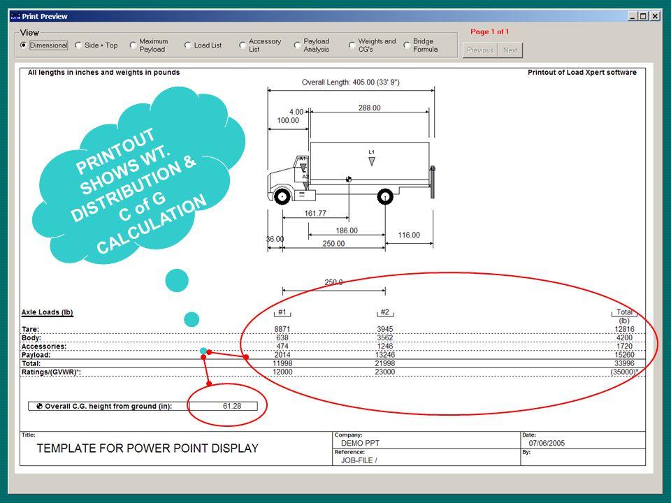PRINTOUT SHOWS WT. DISTRIBUTION & C of G CALCULATION