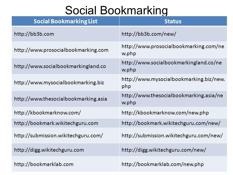 Social Bookmarking Social Bookmarking ListStatus http://bb3b.comhttp://bb3b.com/new/ http://www.prosocialbookmarking.com http://www.prosocialbookmarking.com/ne w.php http://www.socialbookmarkingland.co http://www.socialbookmarkingland.co/ne w.php http://www.mysocialbookmarking.biz http://www.mysocialbookmarking.biz/new.