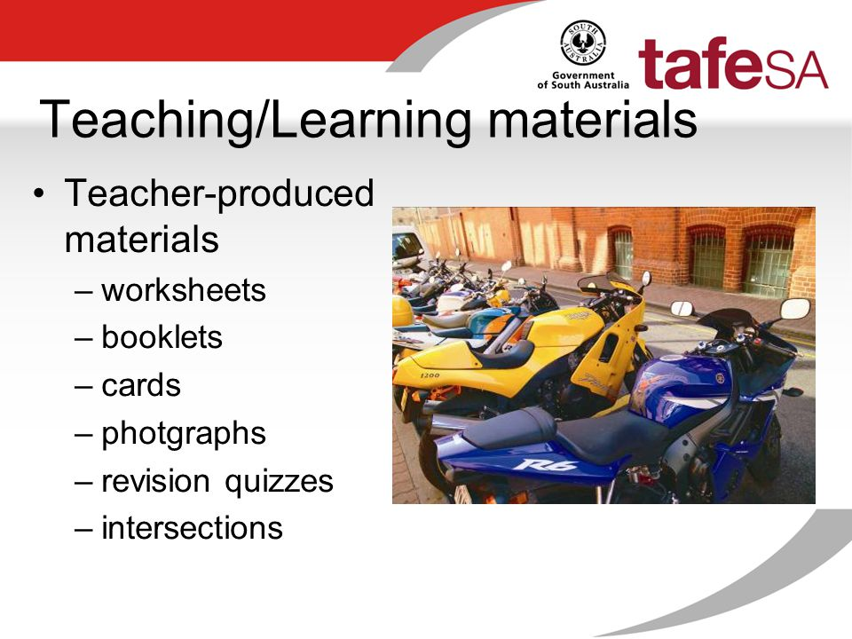 Teaching/Learning materials Teacher-produced materials –worksheets –booklets –cards –photgraphs –revision quizzes –intersections